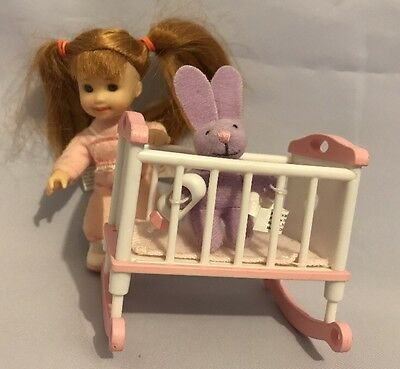 "~Only Hearts Club~ Lil Kid Baby Sister 4"" Melody Doll Purple Bunny Crib"