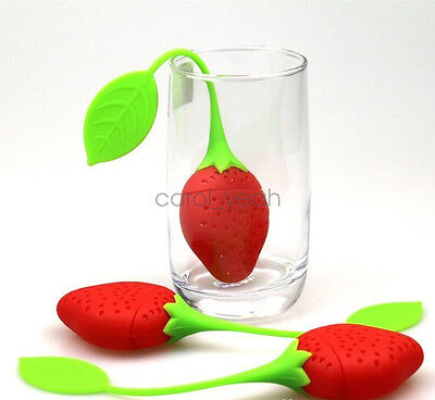 Cute Strawberry Tea Leakage PackageStrainer Filter Diffuser Spice Herb Handle