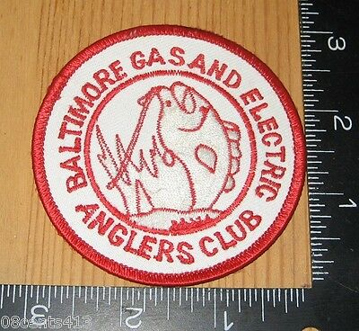 Baltimore Gas and Electric Anglers Club Circle Red & White Cloth Patch Only