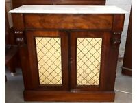 Victorian Rosewood Hall Cupboard Or Cabinet With White Marble Top And Freeze Drawer