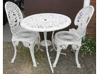 Shabby White Victorian Style Garden Set Of A Table And Two Chairs In Cast Aluminium