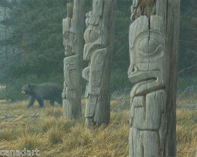 Robert BATEMAN Giclee CANVAS Totem Pole Black Bear LTD art only 180 s/n