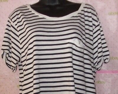 $58 H&M large STRIPE twist neck tee knit blouse ROLLED SHORT SLEEVE top