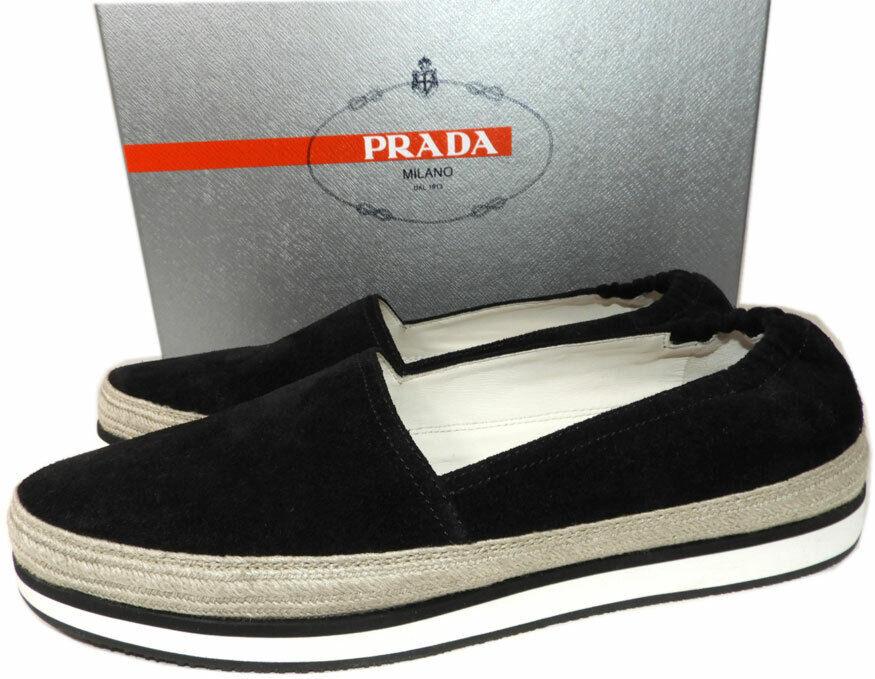 Prada Black Suede Flat Espadrilles Shoe Skate Sneakers Slide