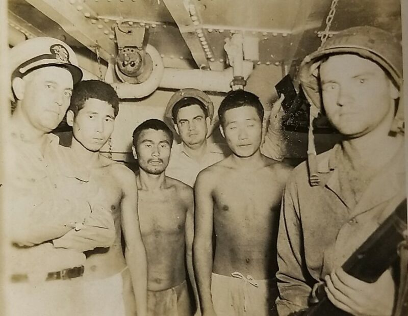 Original WW2 Photograph of Captured Japanese Soldiers U.S. Navy & Marine On Ship