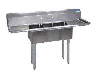 Bk Resources 66-12wx21-1316 3 Compartment Convenience Store Sink