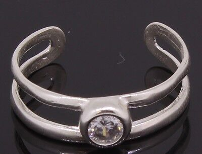 Silver Toe Ring With CZ Stone