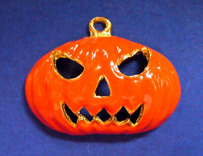Phister Ent CHARM Halloween Vintage PUMPKIN Enamel JOL MEAN FACE Holiday - Mean Halloween Pumpkin Face