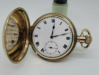 ANTIQUE FULL HUNTER GOLD PLATED POCKET WATCH 50 MM.