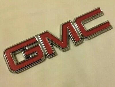 GMC Nameplate Emblem OEM 22884137 Chrome & Red for Pickup Truck SUV Van New