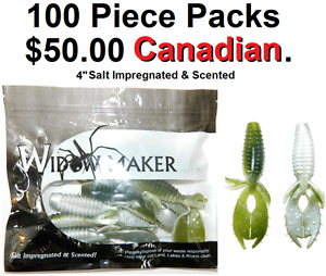 "Fishing, 4"" Soft Plastics Bulk 100pcsSalt Impregnated & Scented"