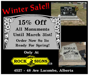 Get Up To 15% off Any Monument Purchased Before March 31st!