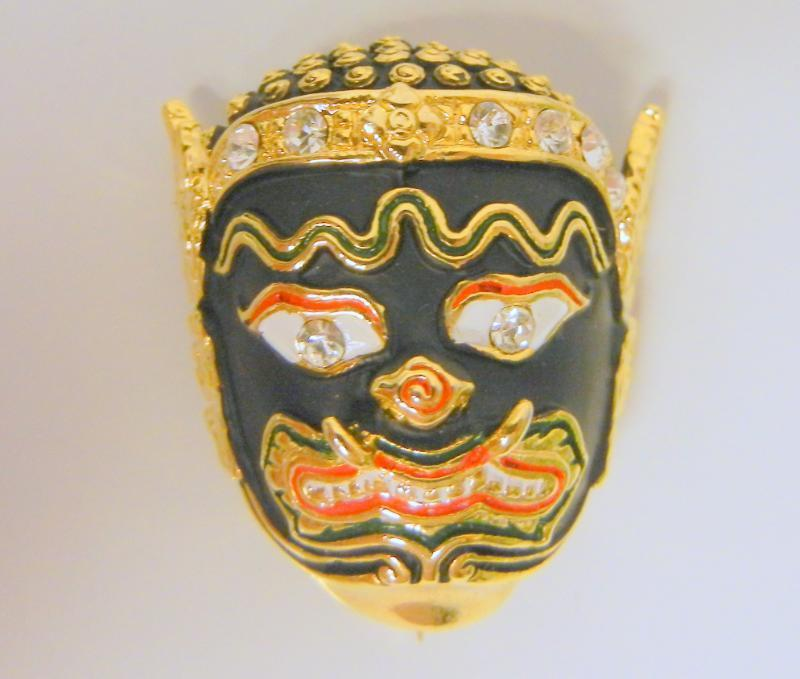 Vintage Asian Oriental Mask Rhinestones Enamel Pin Brooch