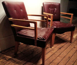 Pair of Midcentury Armchairs w Blond Wood, Button Tufting