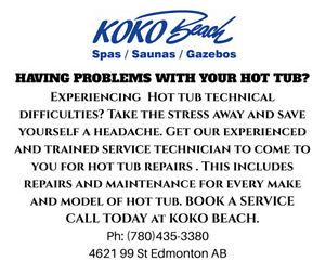 HAVING PROBLEMS WITH YOUR HOT TUB? Service Technician KOKO BEACH
