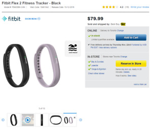 Fitbit Flex 2 Fitness Tracker - Lavender - Small and Large Band