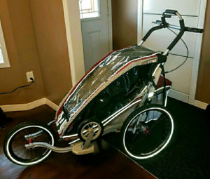 Thule chariot CX1 single stroller, 3 attachments, excellent