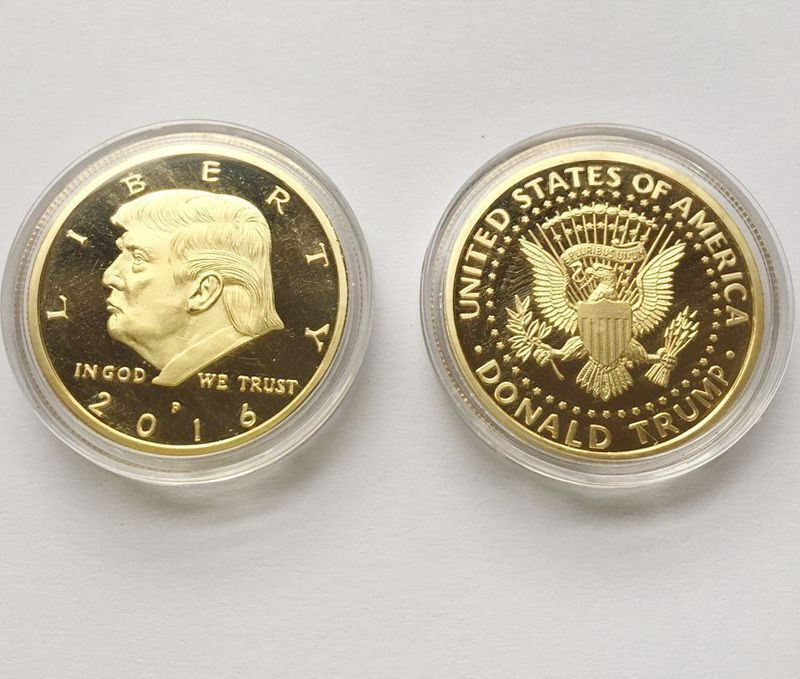 Rare Donald Trump Republican US Gold Eagle Collection Gift Large Coin W/ Capsule