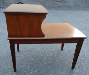 Vintage two-tier wood telephone side/ end table (pair)