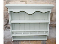 Pine Wall Rack, Painted in Cotswold Green - Bathroom, Herbs and Spices