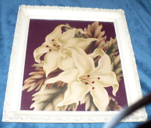 Spring Lilacs Art Picture in Vintage Ribbon Frame