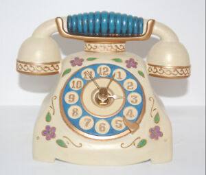 Avon Hand-Painted Antique Phone Clock - like NEW