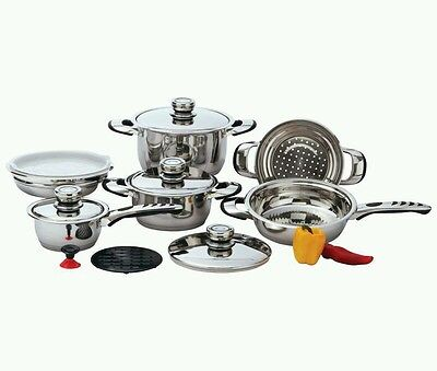 Pots And Pans Chef's Secret® 12pc 9-Ply Heavy-Gauge Stainless Steel Cookware Set