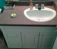 White Vanity with Countertop, sink and faucet