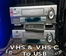 VHS & VHS-C to USB Video VCR Cassette Tape Transfer Convert Digitise
