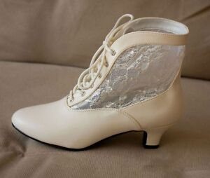 Ivory Victorian Wedding Granny Lace Up Western Ankle Boots