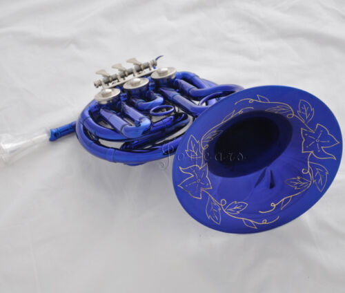 Top Portable Blue Paint Bb MINI French Horn Engraving Bell 6.23