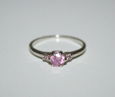 VINTAGE STERLING SILVER 925 Pink CZ 3-Stone RING Size P