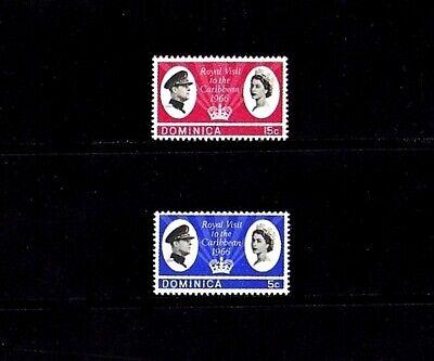 DOMINICA - 1966 - QE II - ROYAL VISIT - MINT - MNH SET OF 2  - $1.99