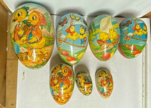 LOT 6 Vintage Easter West German Paper Mache Eggs
