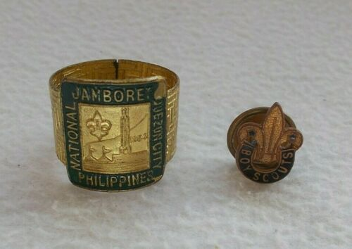 RARE 1954 Philippines National Jamboree Quezon City Boy Scout Woggle + Badge