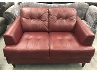 DFS 2 seater red leather sofa