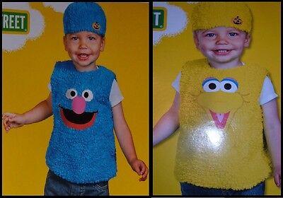NEW Grover Big Bird Costume Sesame Street Vest Hat 12-18 Months NWT - FREE - Grover Kostüm
