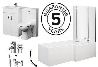 1700 L Shower Bath 600 Vanity Unit 500x200 BTW Taps & Wastes Bathroom Suite R/H