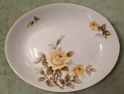 Harmony House Oval Serving Bowl Yellow Rose Floral Flowers Kitchen Gold Food