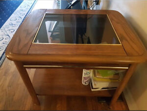 Wooden end table with glass
