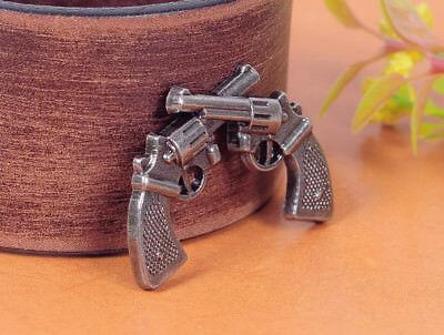 Wholesale Western Decor (10pcs Antique Nickel Western Cowboy Cross Pistol LeatherCraft Belt Decor)