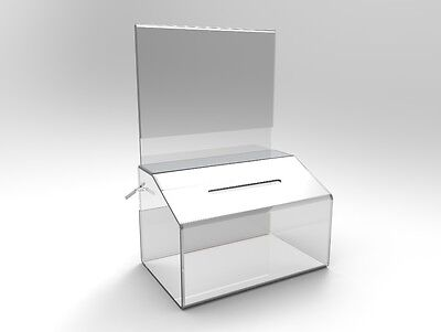 Locking Fundraising Charity Donation Box With Sign Clear Acrylic Piggybank Tip