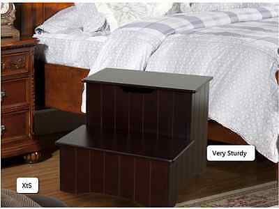 Bed Step Stool Sturdy Wood Furniture  Dog Climb Up High Assist Bedroom
