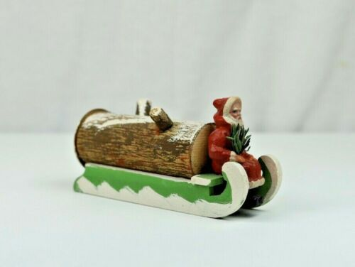 Antique German Composition Santa Claus on Log Sleigh Christmas Candy Container