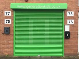Electrically Operated Steel Roller Shutter 2.6m x 2.6m - Powder Coated Green
