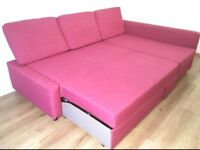 Ltd Edition Corner Sofa-Bed pink colour with Storage-IKEA Farihiten. V good condition Stain-free