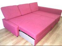 Ltd Edition Corner Sofa-Bed pink colour with Storage-IKEA Farihiten. V good condition Stain-free