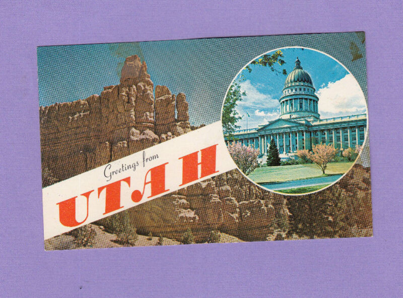 Greetings from  Utah  Postcard Chrome 1962 Vintage color Unposted