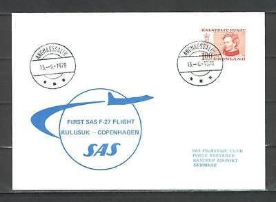 First Flight Cover G19 SAS 1978 Kulusuk - Copenhagen F-27