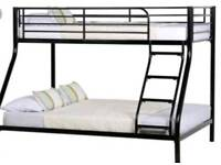 Triple bunk bed with mattresses